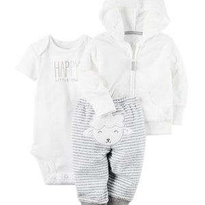 Carter's Neutral 3 Piece Terry Lamb Outfit Set